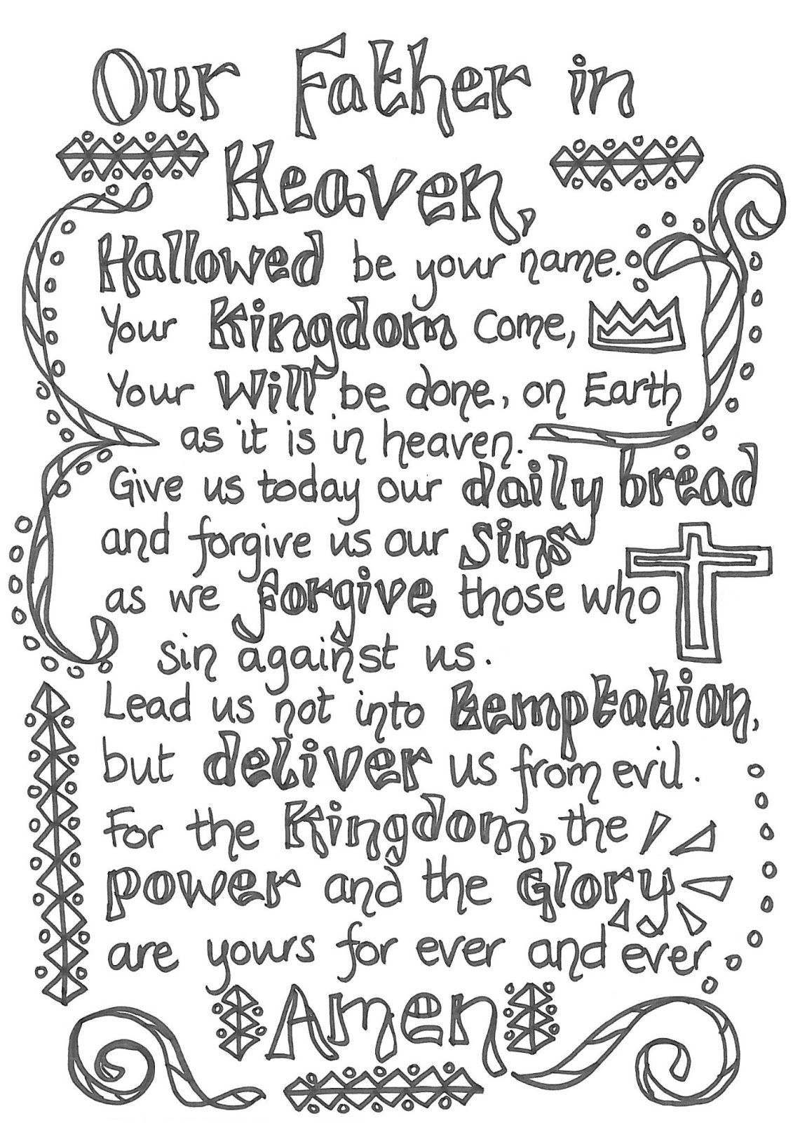Children's Lord's Prayer Printable | The Lord S Prayer Printable - Free Printable Lord's Prayer Coloring Pages