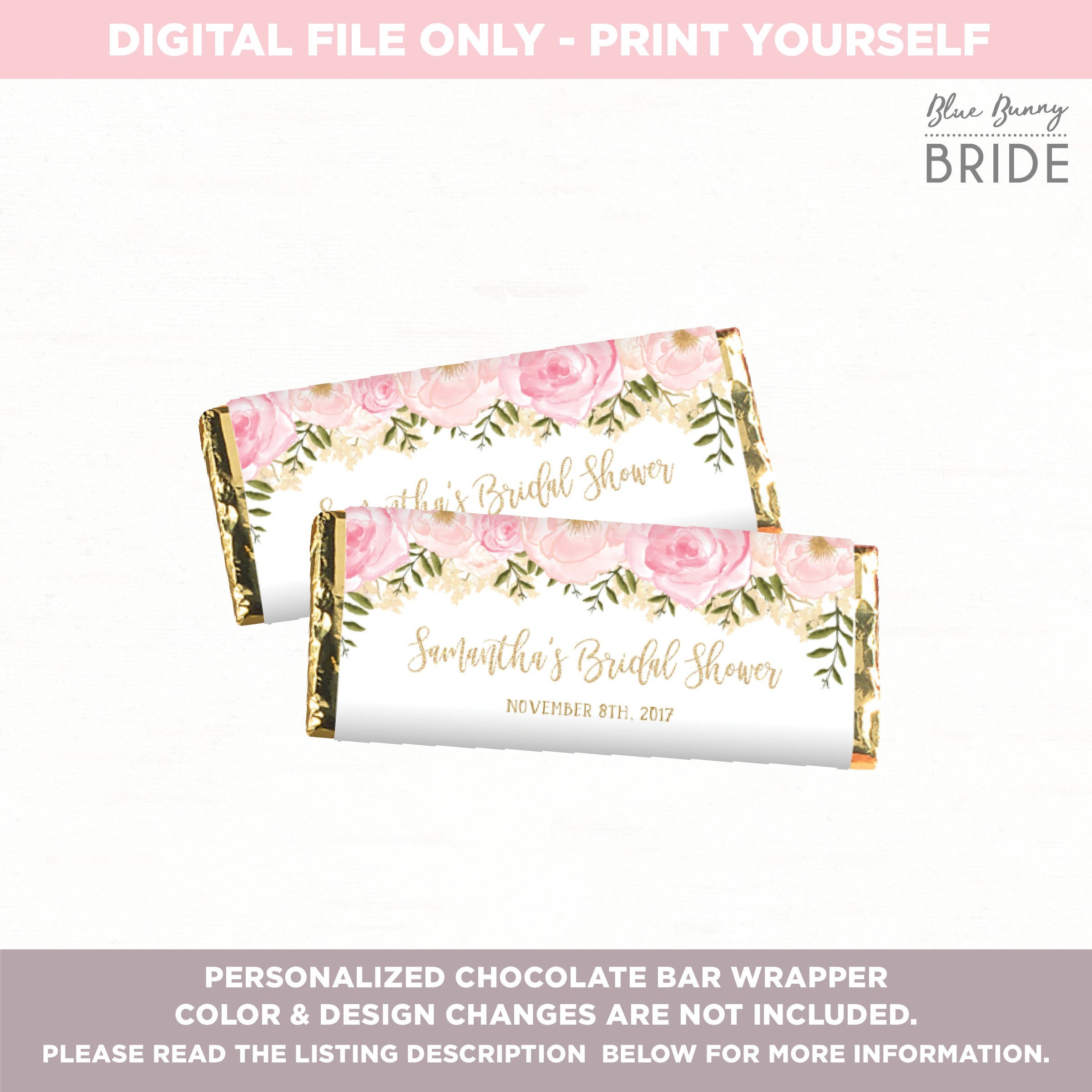 Chocolate Bar Wrapper. Candy Bar Wrapper. Pink And Gold Floral   Etsy - Free Printable Candy Bar Wrappers For Bridal Shower