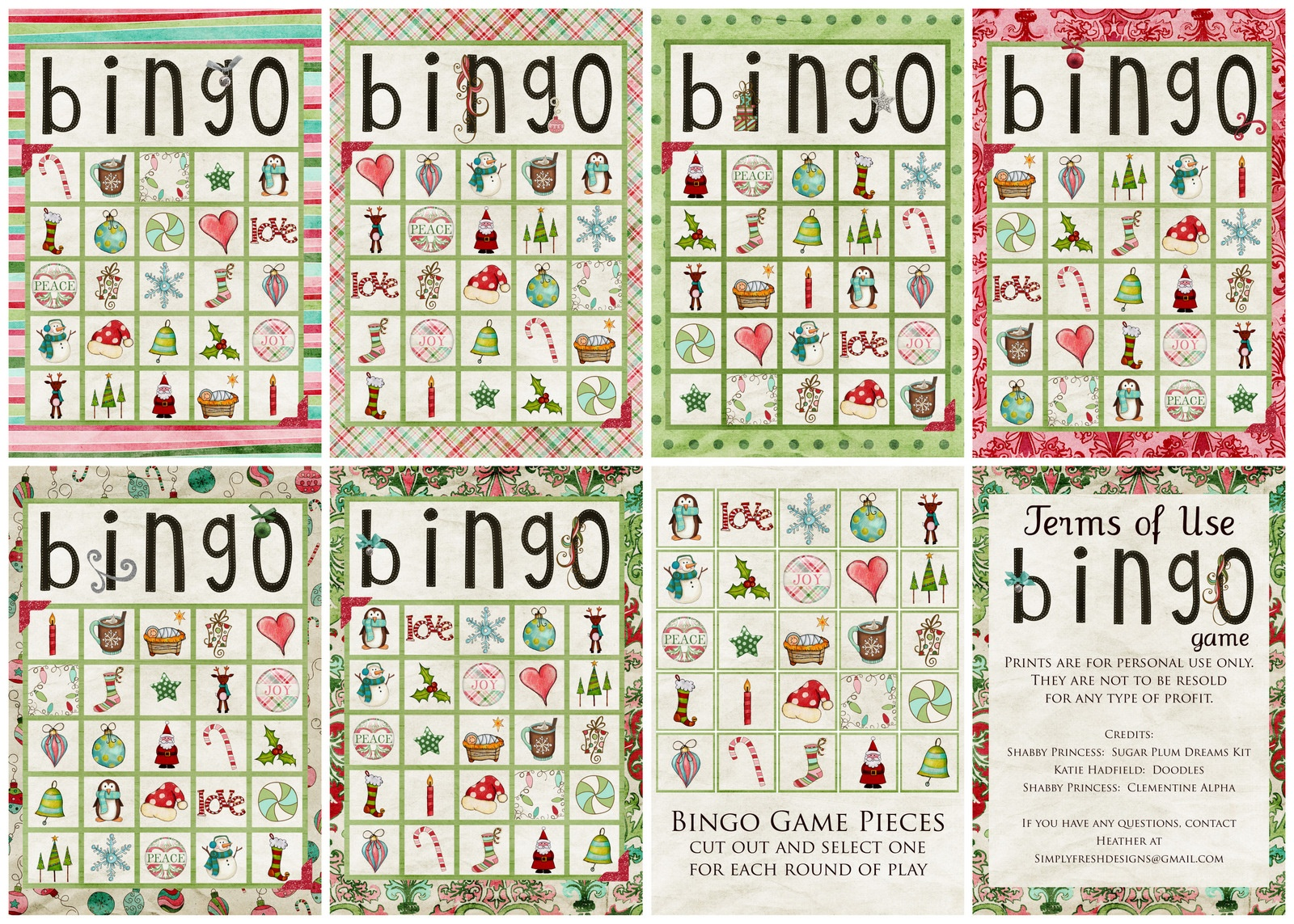Christmas Bingo Game - Simply Fresh Designs - Free Christmas Bingo Game Printable