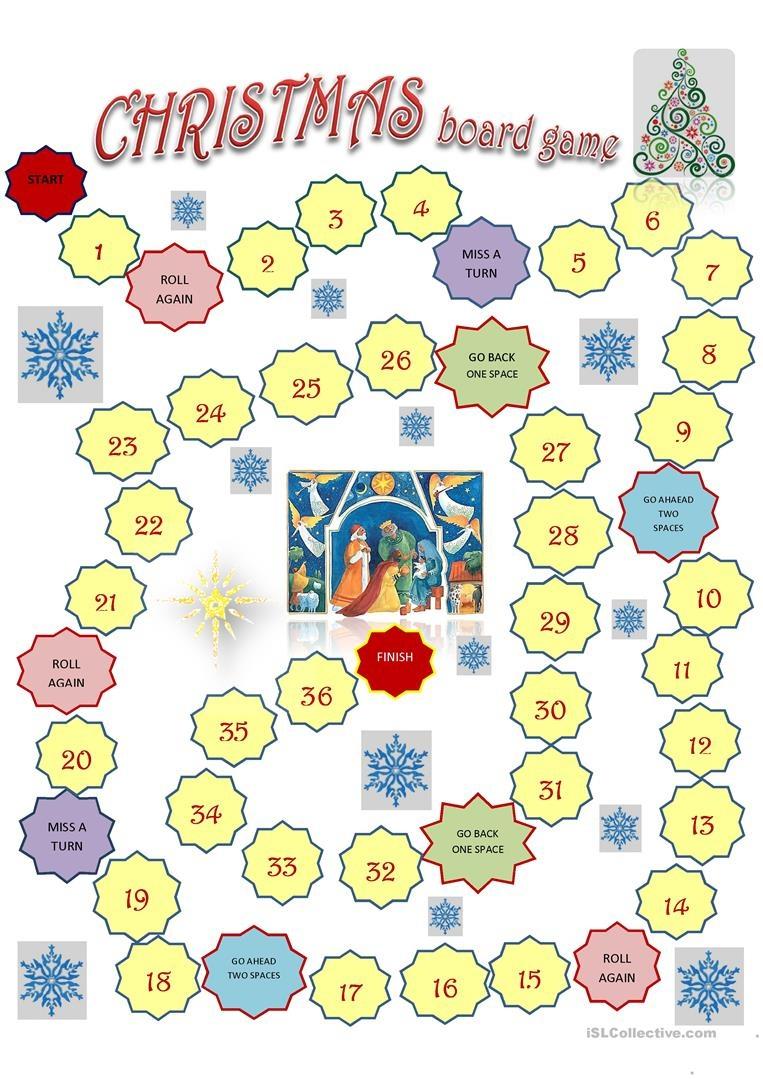 Christmas Board Game Template Worksheet - Free Esl Printable - Free Printable Christmas Board Games