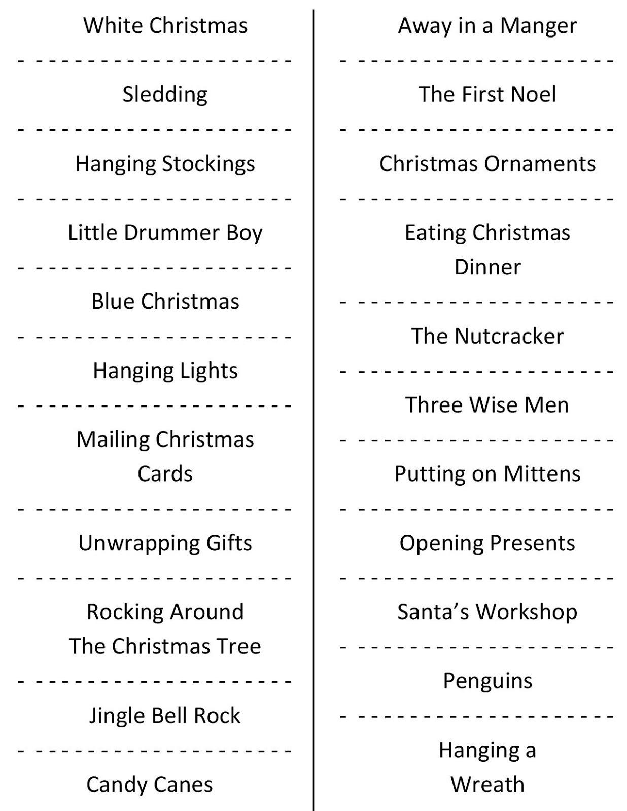 Christmas Charades (Free Printable Party Game) - Free Printable Christmas Charades Cards