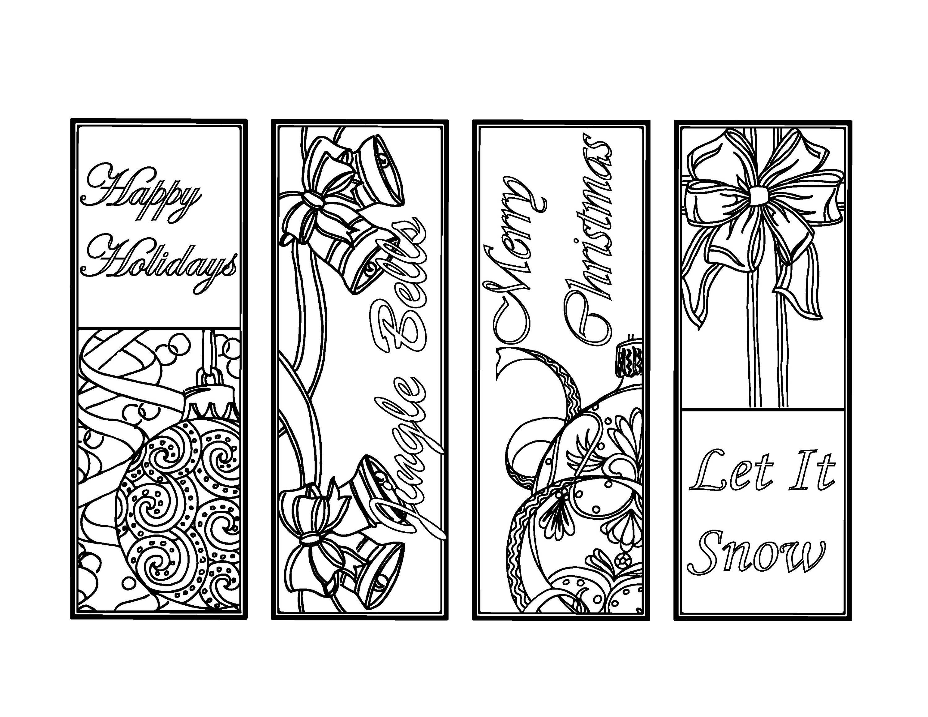 Christmas Coloring Bookmarks Plus Colored Items. Image 0. 9 - Free Printable Christmas Bookmarks To Color