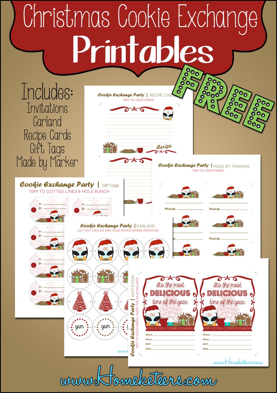 Christmas Cookie Exchange Printables Penguin Theme ~ Free - Free Christmas Cookie Exchange Printable Invitation