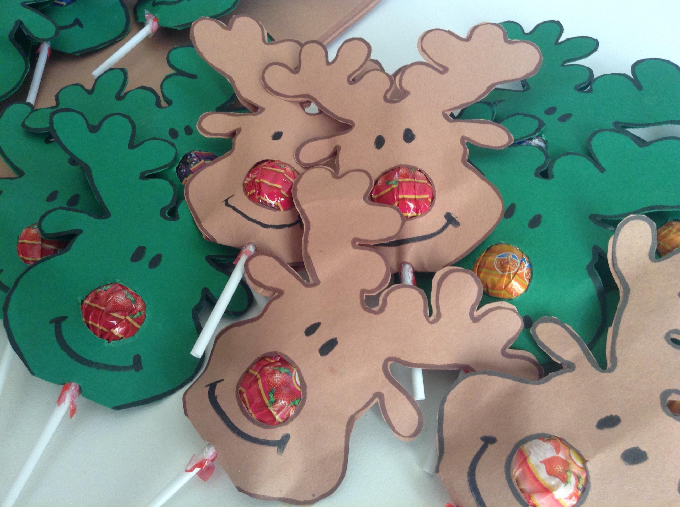 Christmas Gift -Reindeer Nose Lollipops - Free Printable Reindeer Lollipop Template