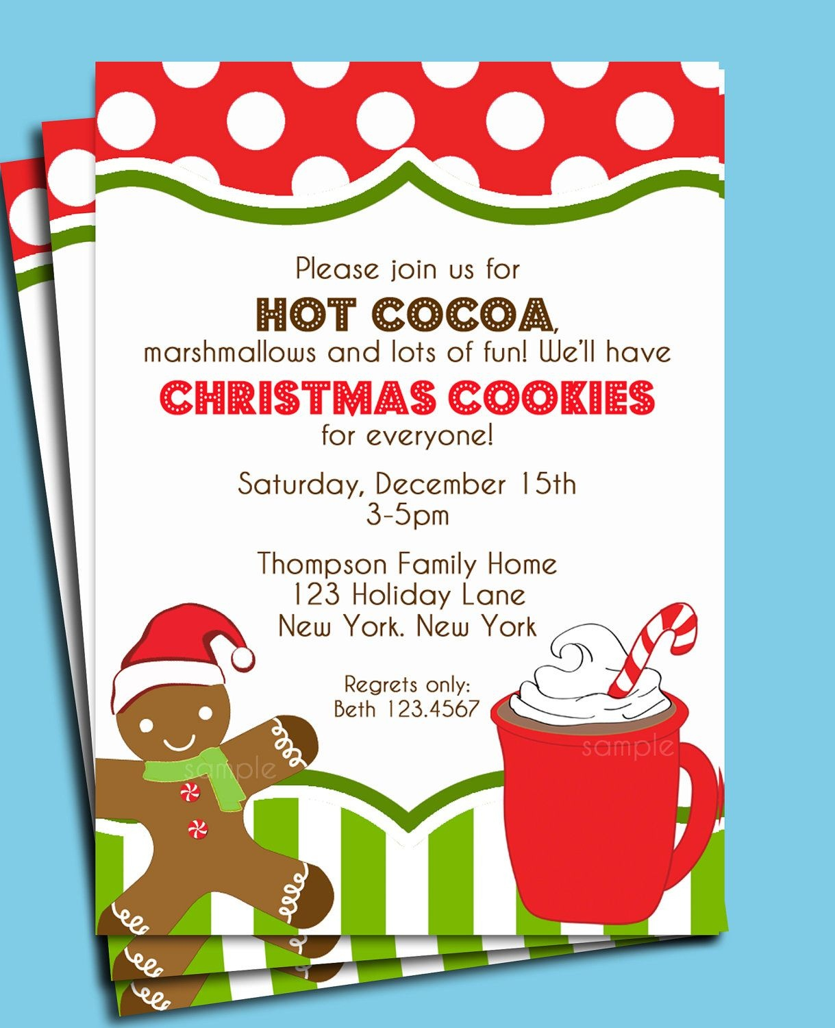 Christmas Hot Cocoa And Cookies Invitation Printable Or Printed With - Free Printable Cookie Decorating Invitations