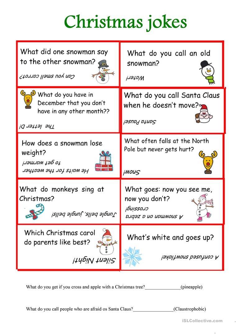 Christmas Jokes Worksheet - Free Esl Printable Worksheets Made - Free Printable Jokes For Adults