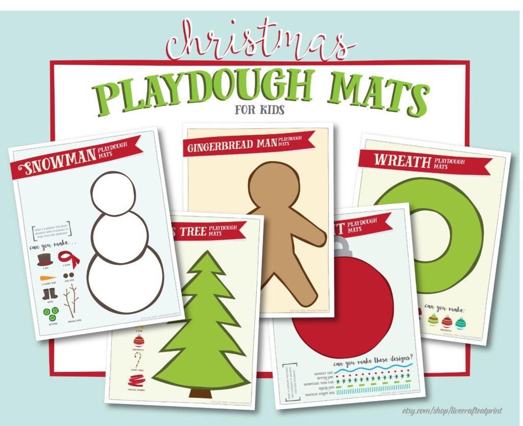 Christmas Playdough Mats - Free Printable   Live Craft Eat - Free Printable Playdough Mats