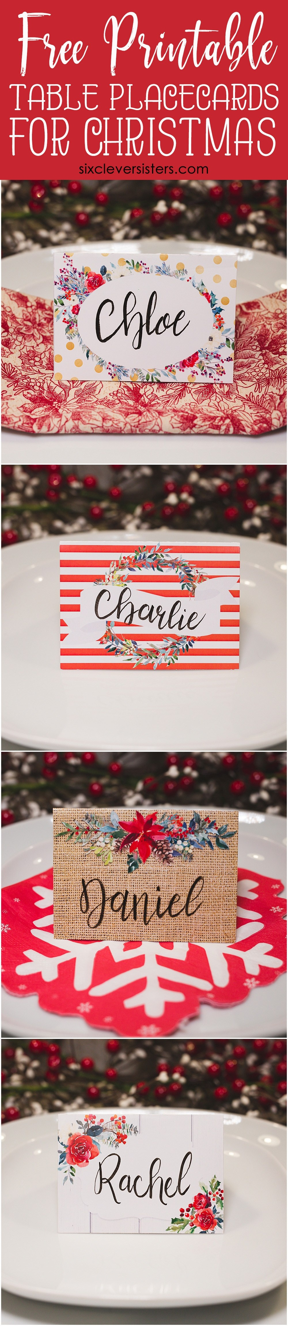 Christmas Table Place Cards { Free Printable} - Six Clever Sisters - Free Printable Christmas Tent Cards