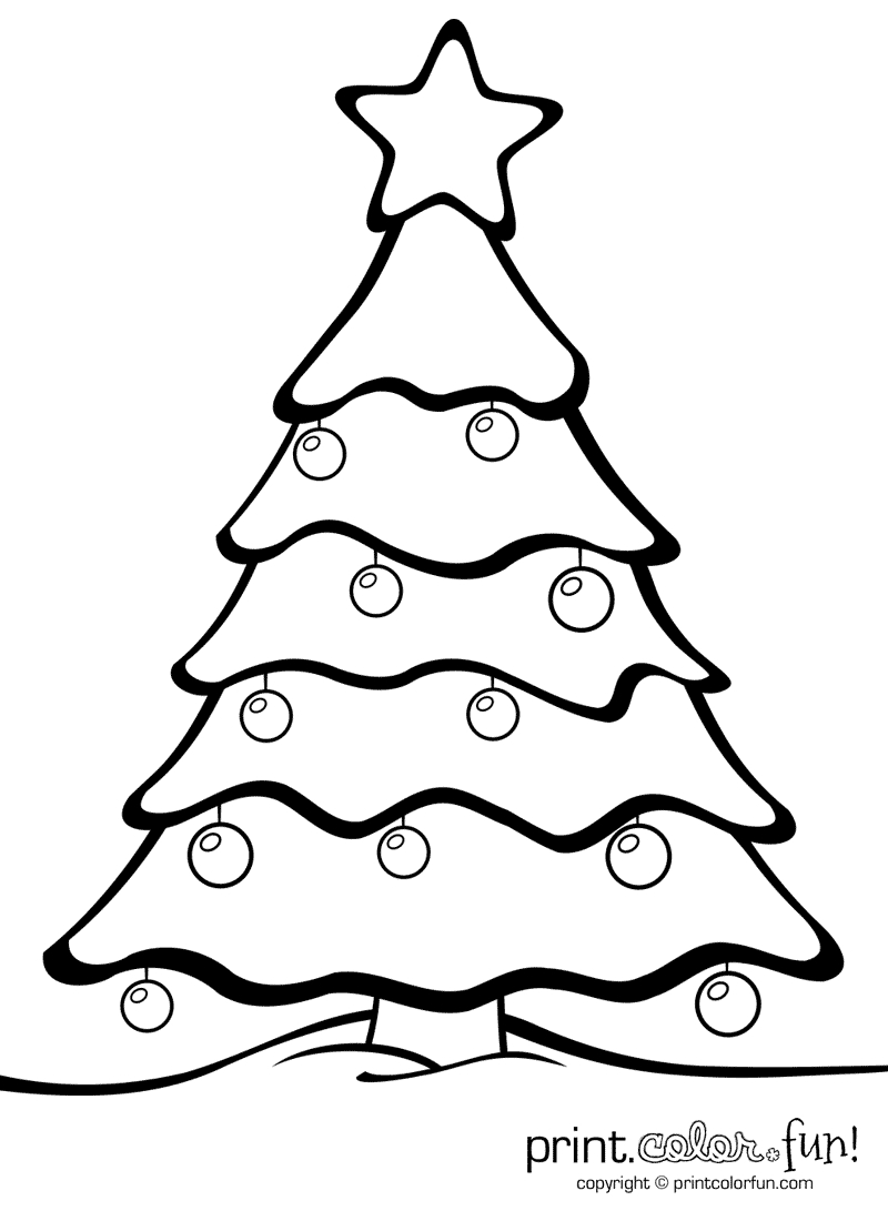 Christmas Tree With Ornaments   Print. Color. Fun! Free Printables - Free Printable Christmas Ornaments Stencils