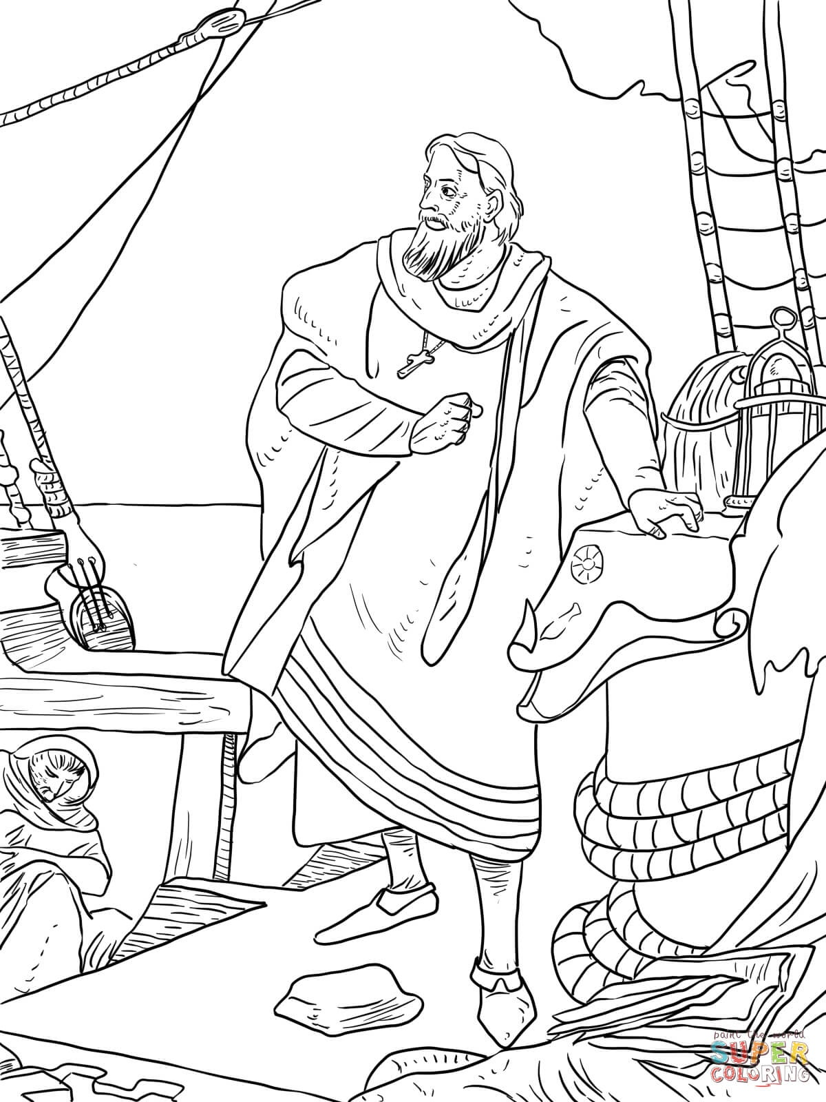 Christopher Columbus On The Santa Maria Coloring Page | Free - Free Printable Christopher Columbus Coloring Pages