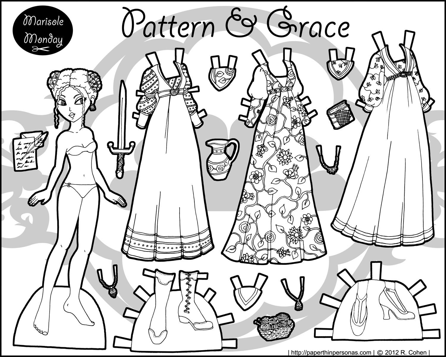 Civll War Printable Paper Doll- Marisole Monday   Coloring!   Paper - Medieval Paper Dolls Free Printable