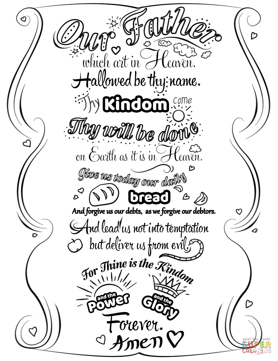 Click The Lord's Prayer Doodle Coloring Pages To View Printable - Free Printable Lord's Prayer Coloring Pages