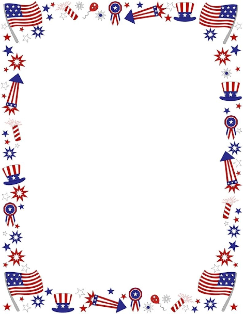 Clipart+4Th+Of+July+Borders | Coloring Pages | 4Th Of July Clipart - Free Printable 4Th Of July Stationery