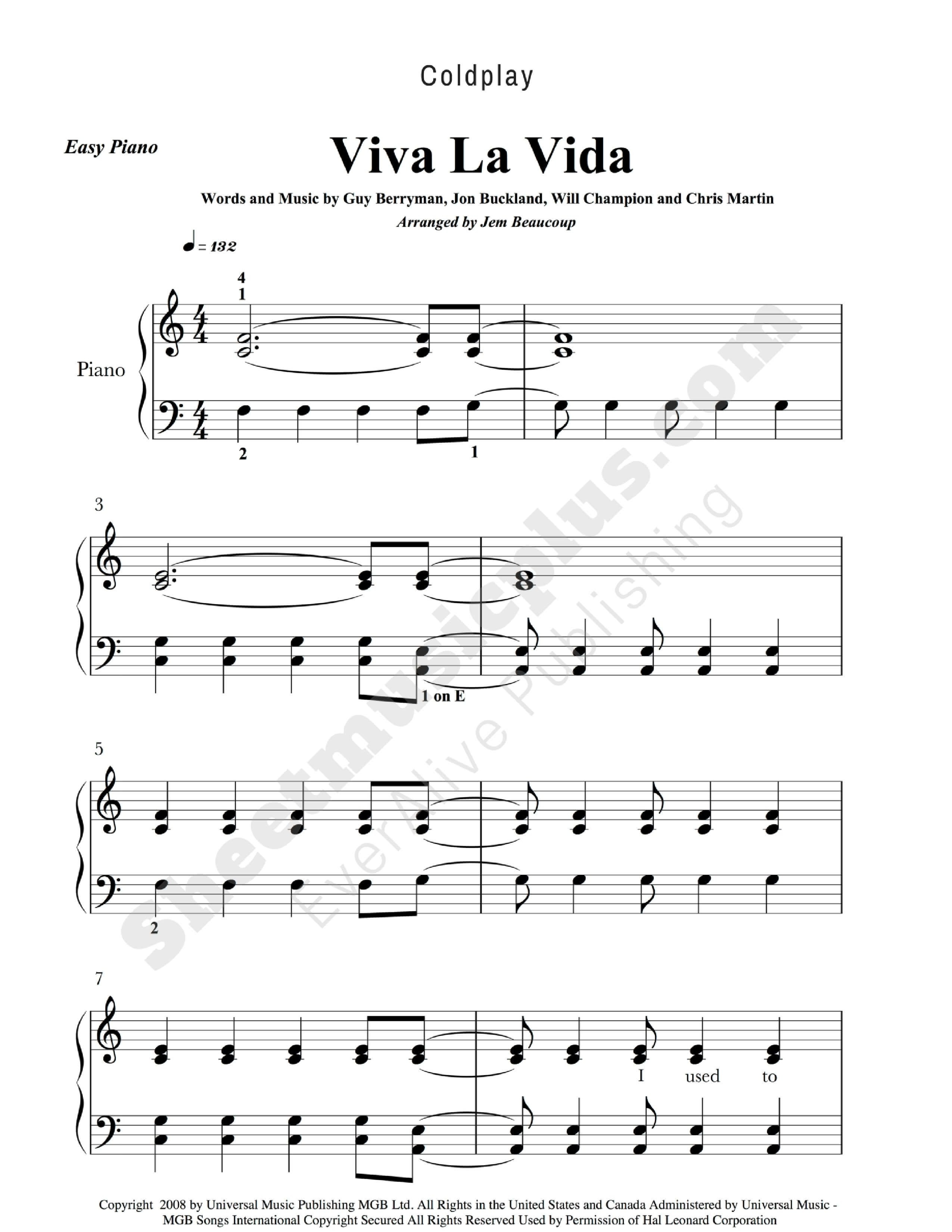 Coldplay Viva La Vida Easy Piano Music. Download And Print - Free Piano Sheet Music Online Printable Popular Songs