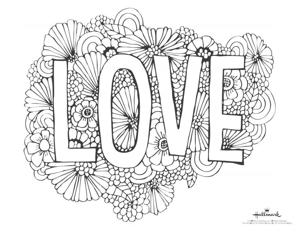 Coloring Book World ~ Printablene Coloring Pages Love Free For Kids - Free Printable Coloring Cards For Adults