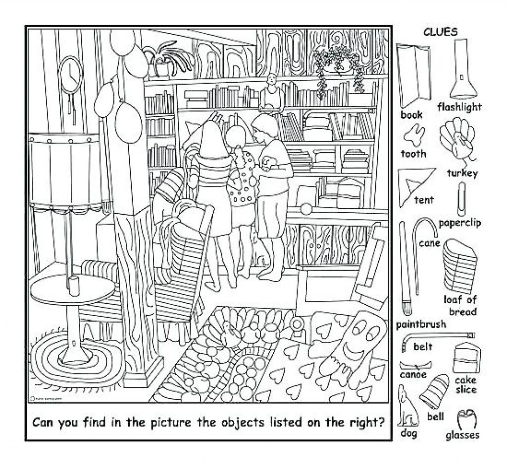 Coloring Page ~ Hiddene Coloring Pages Free Printables - Free Printable Hidden Pictures For Adults