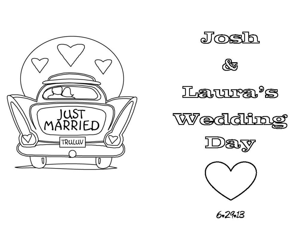 Coloring Page ~ Wedding Coloring Book Templates Aprilonthemarchco - Free Printable Personalized Wedding Coloring Book
