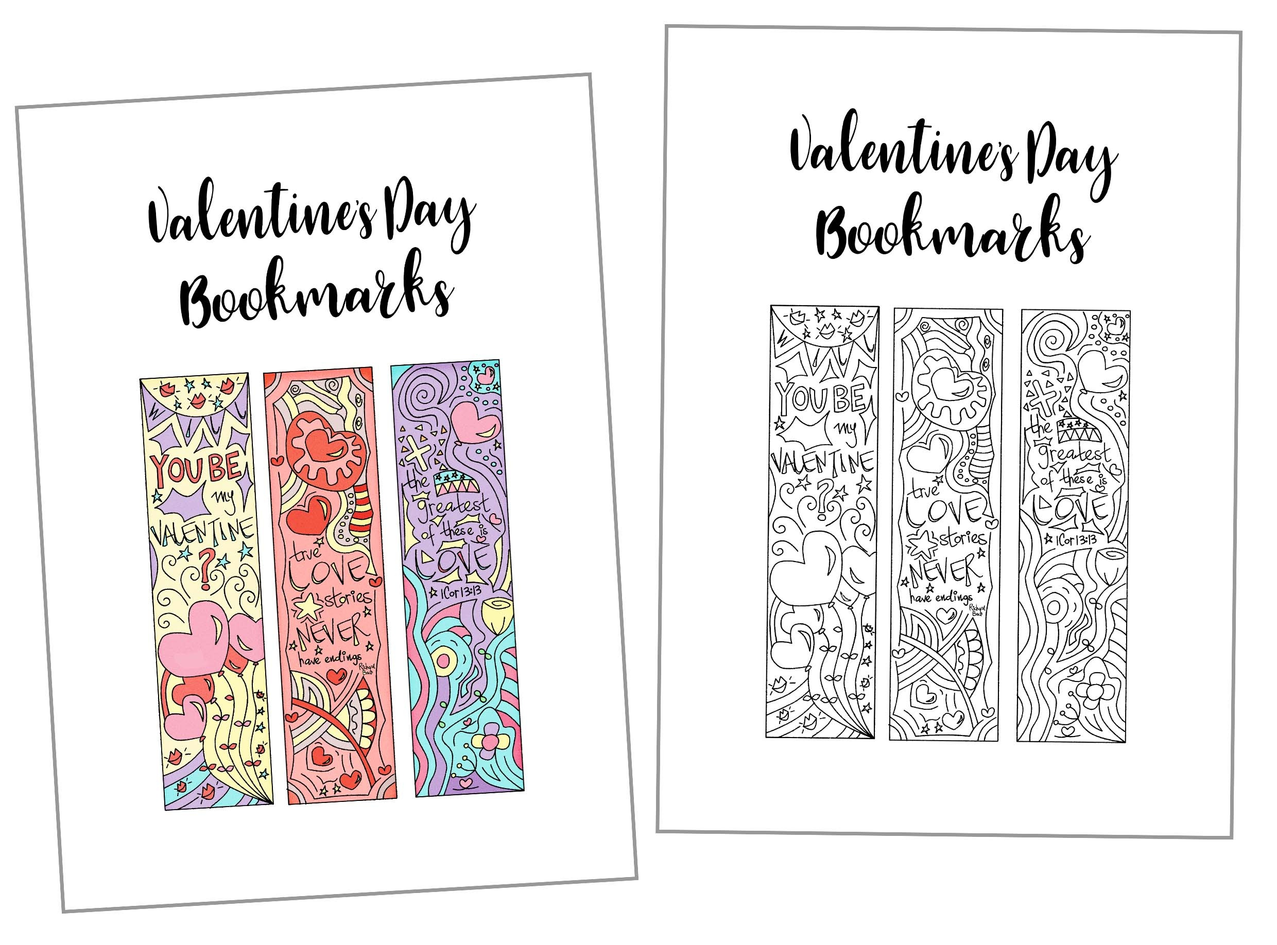 Coloring Valentine's Day Bookmarks Free Printable - Free Printable Valentine Bookmarks