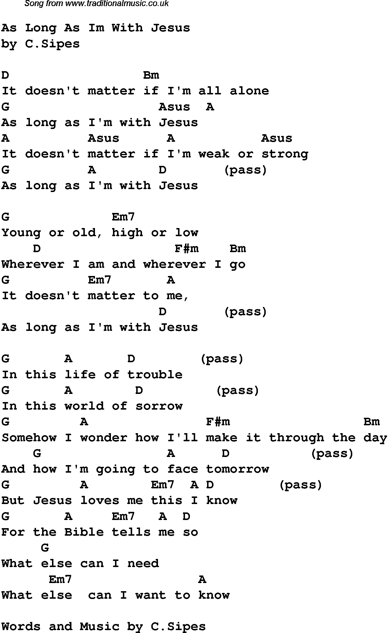 Contemporary Christian Music, Worship Lyrics & Chords For: As Long - Free Printable Lyrics To Christian Songs