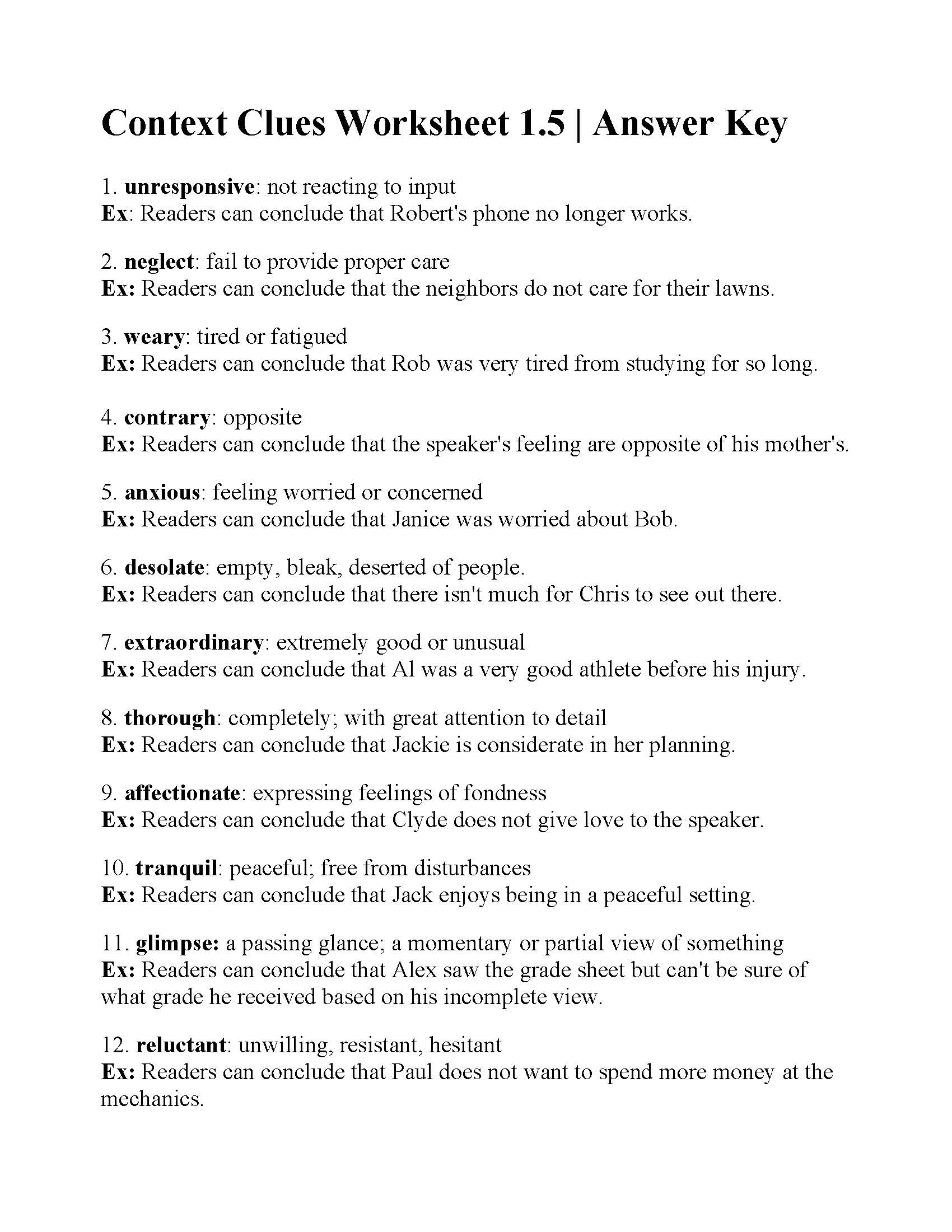Context Clues Worksheet 1.5 | Answers - Free Printable 5Th Grade Context Clues Worksheets
