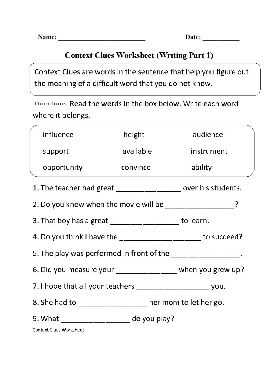 Context Clues Worksheet Writing Part 1 Intermediate | Ela | Context - Free Printable 5Th Grade Context Clues Worksheets