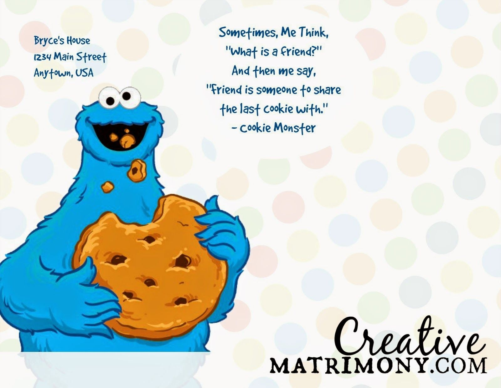 Cookie Monster Card - Google Search | Crafts • Cards • Creativity - Free Printable Cookie Monster Birthday Invitations