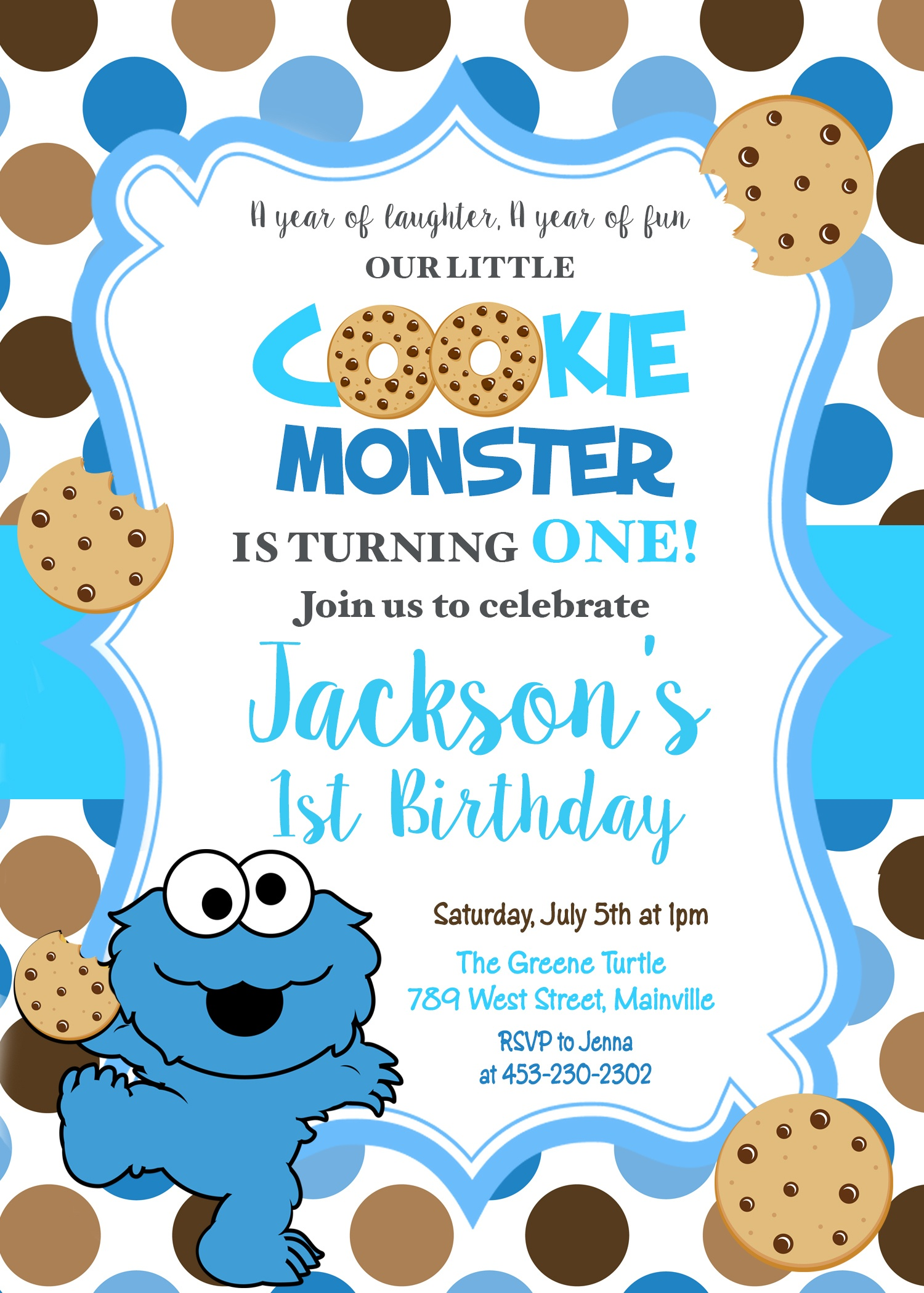 Cookie Monster First Birthday, One Year, Birthday Party, Invitation -  Digital Or Printed - Free Printable Cookie Monster Birthday Invitations