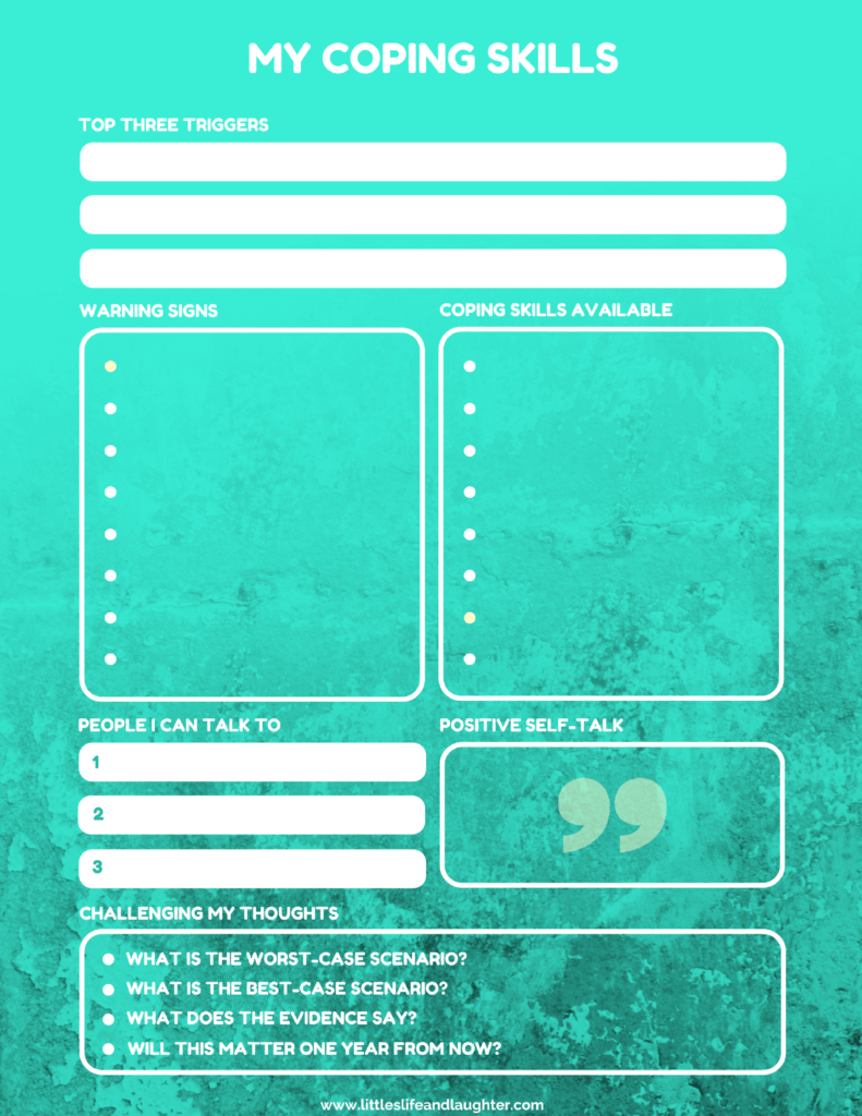 Coping Skills Worksheet For Kids | Counseling For Young Adults - Free Printable Coping Skills Worksheets For Adults