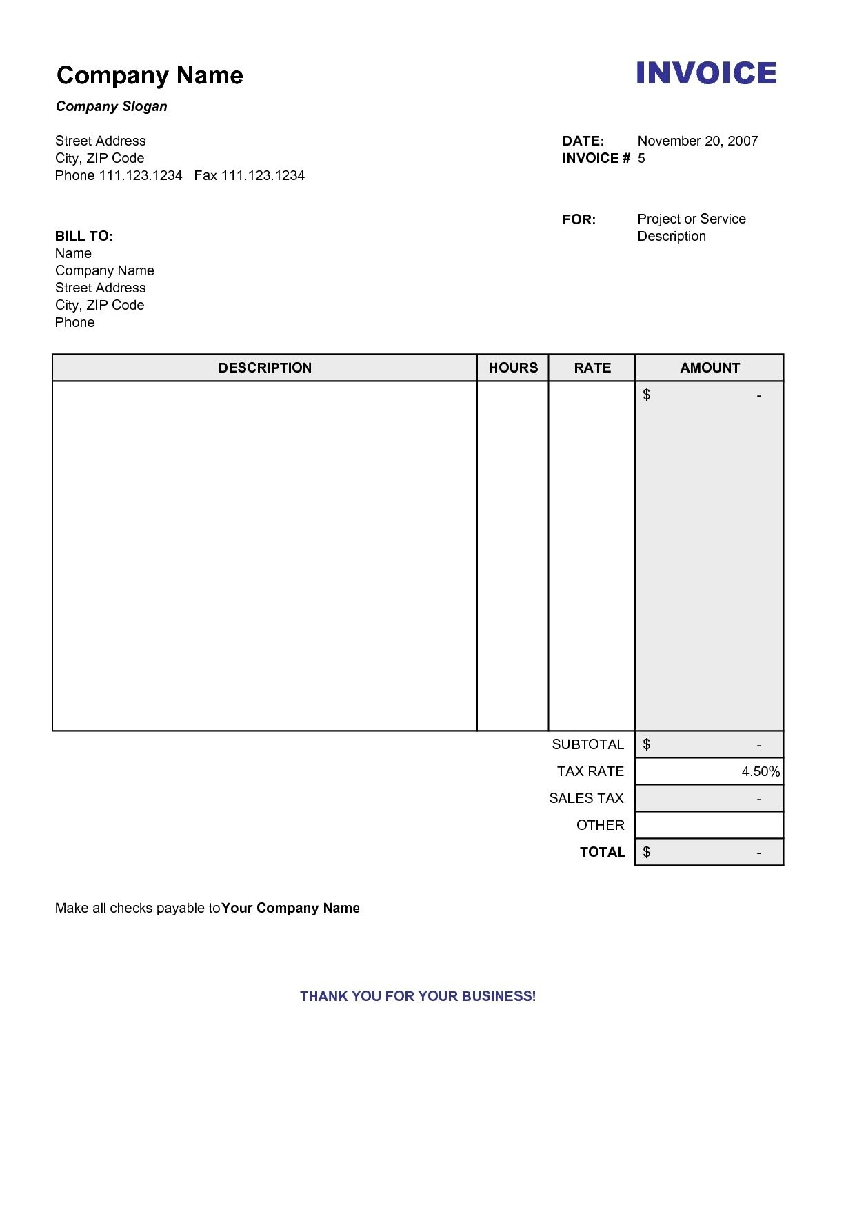 Copy Of A Blank Invoice Invoice Template Free 2016 Copy Of Blank - Free Printable Blank Invoice