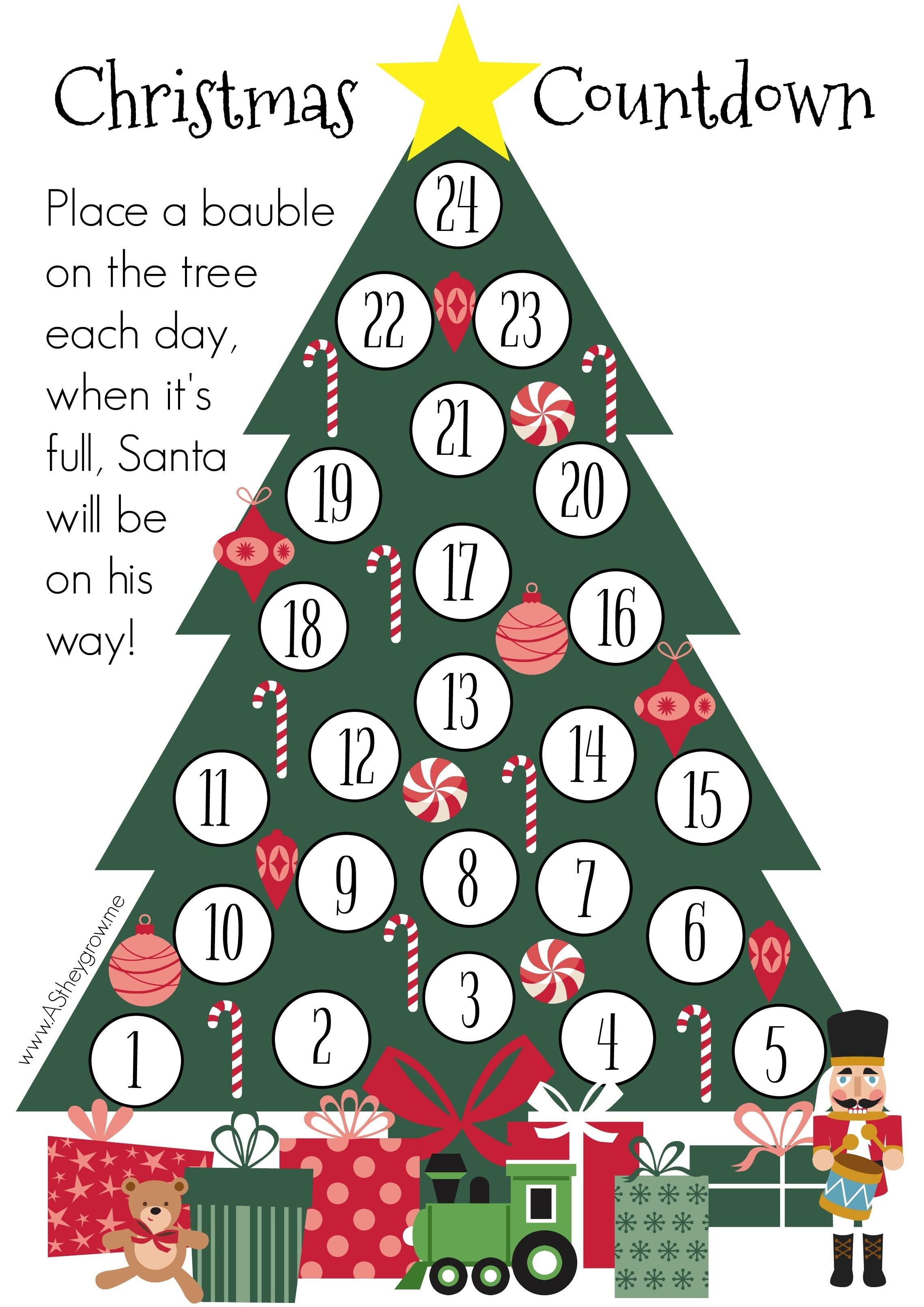 Crafty Christmas Countdown - Free Printable - As They Grow - Christmas Countdown Free Printable