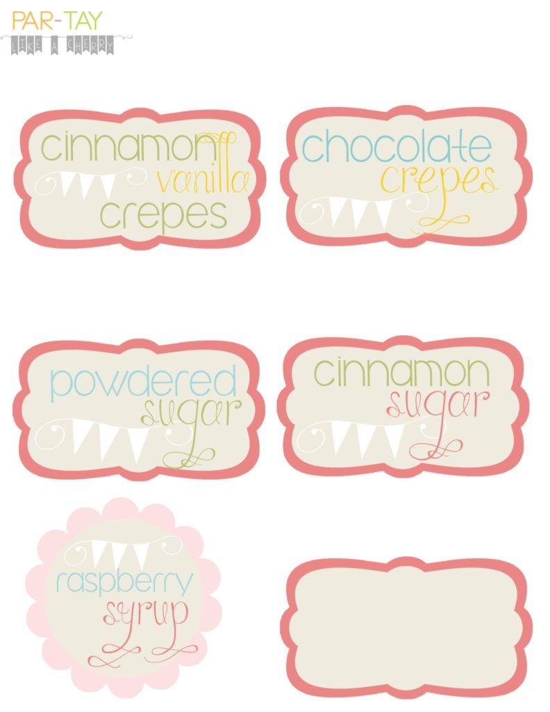 Crepe Buffet Food Labels | Party Like A Cherry | Food Labels, Easter - Free Printable Buffet Food Labels
