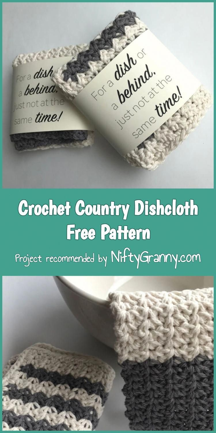 Crochet Country Dishcloth Free Pattern #advising | Advising In 2019 - Free Printable Dishcloth Wrappers