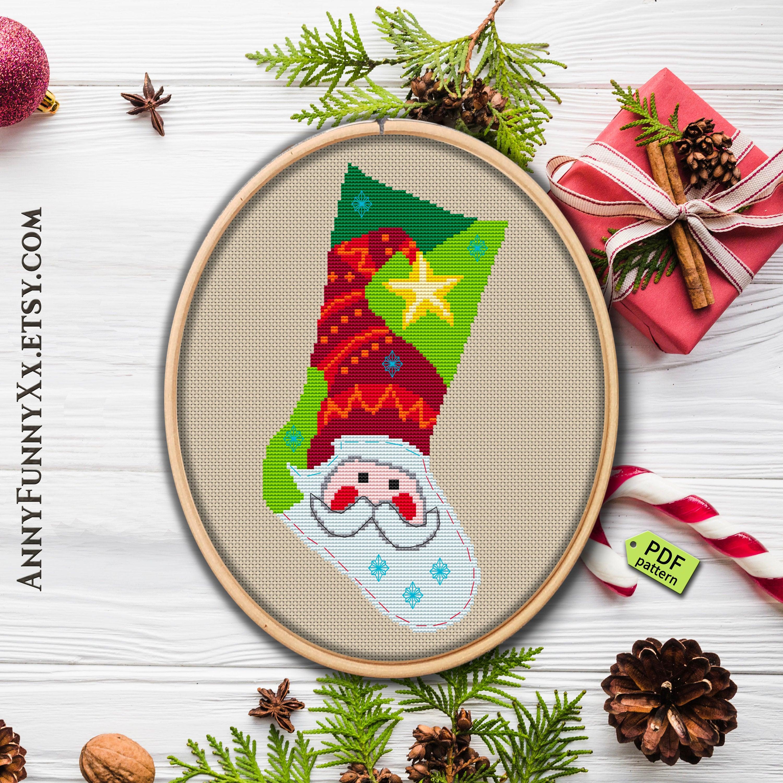 Cross Stitch Christmas Stocking Pattern Pdf Cross Stitch | Etsy - Free Printable Cross Stitch Christmas Stocking Patterns