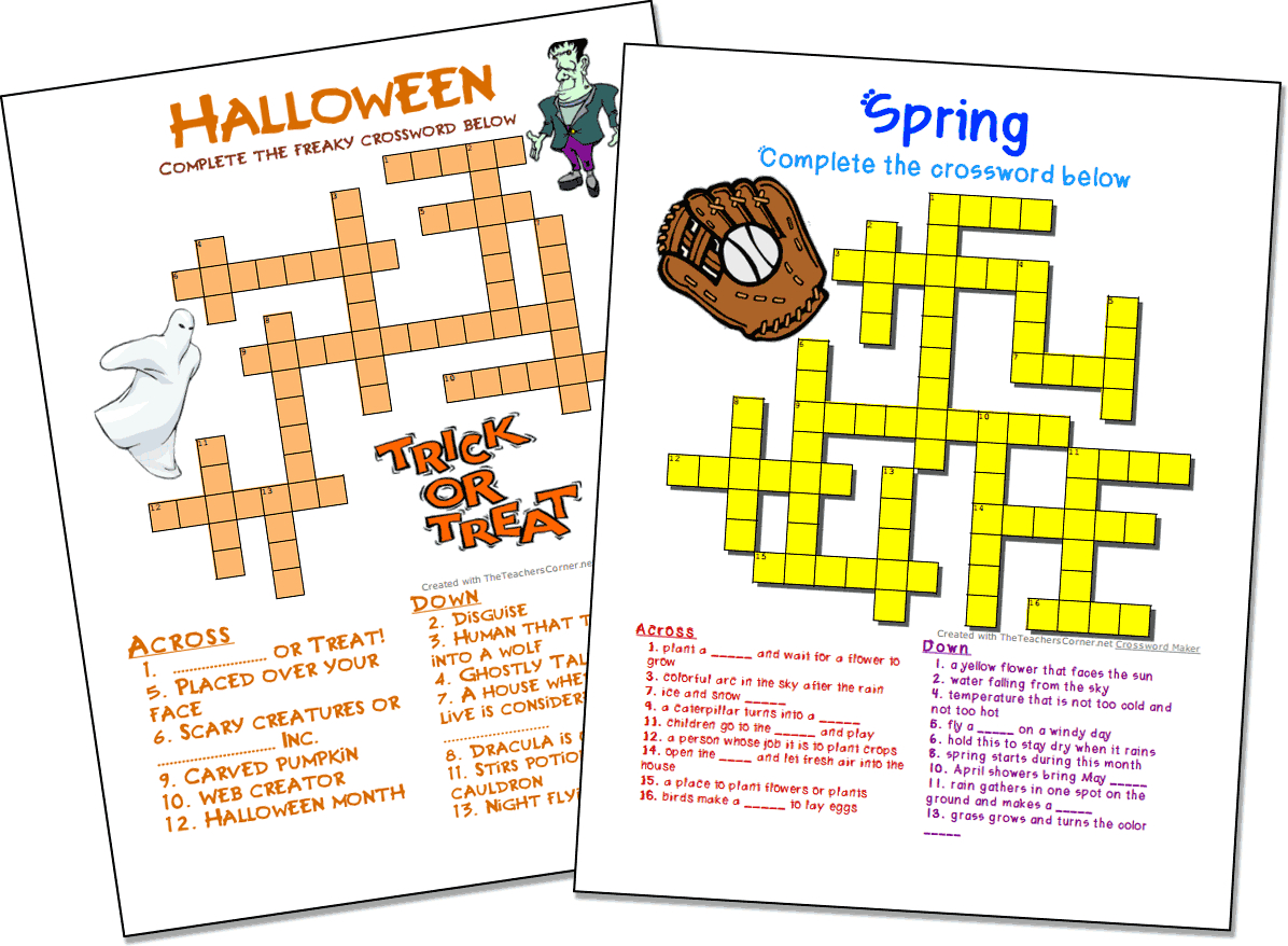 Crossword Puzzle Maker   World Famous From The Teacher's Corner - Crossword Maker Free And Printable