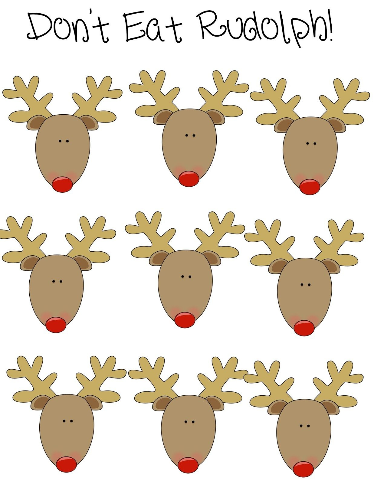 Crystal's Craft Spot: Don't Eat Rudolph? (Free Printable) Christmas - Don T Eat Pete Free Printable