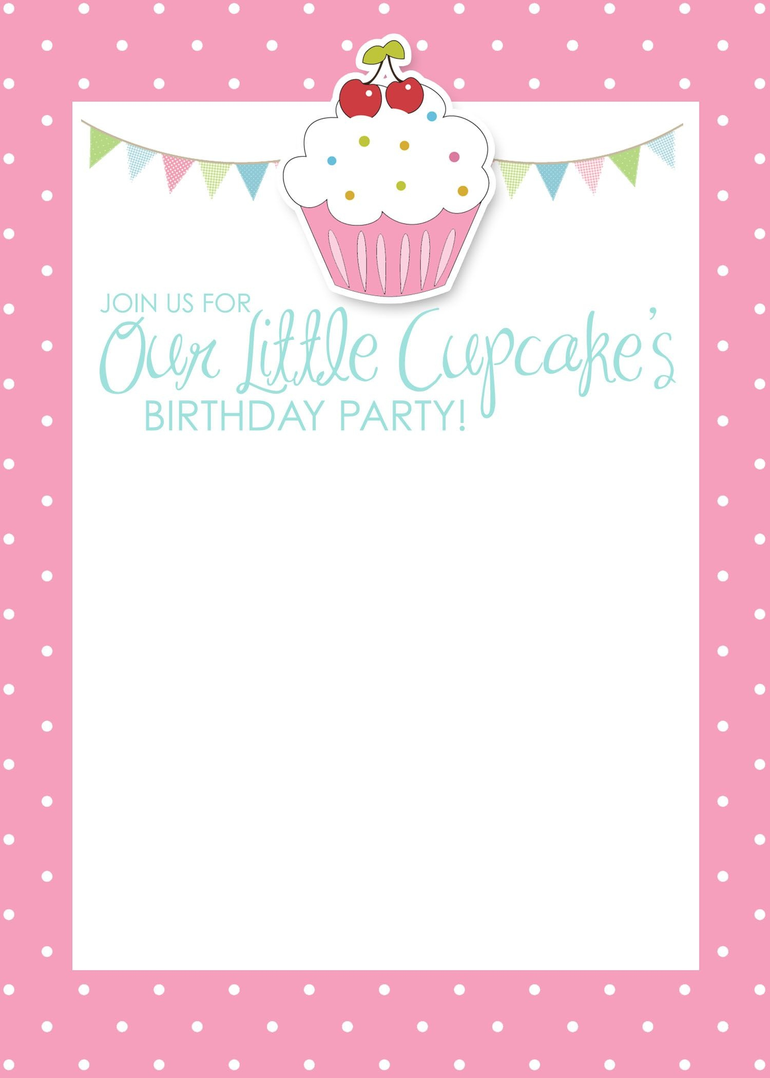 Cupcake Birthday Party With Free Printables   Detalles Fiestas - Free Printable Birthday Invitations Pinterest