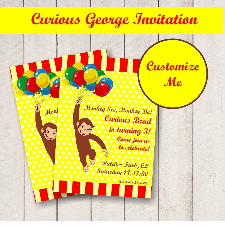 Curios George Invitations - Anarchistshemale - Free Printable Curious George Invitations