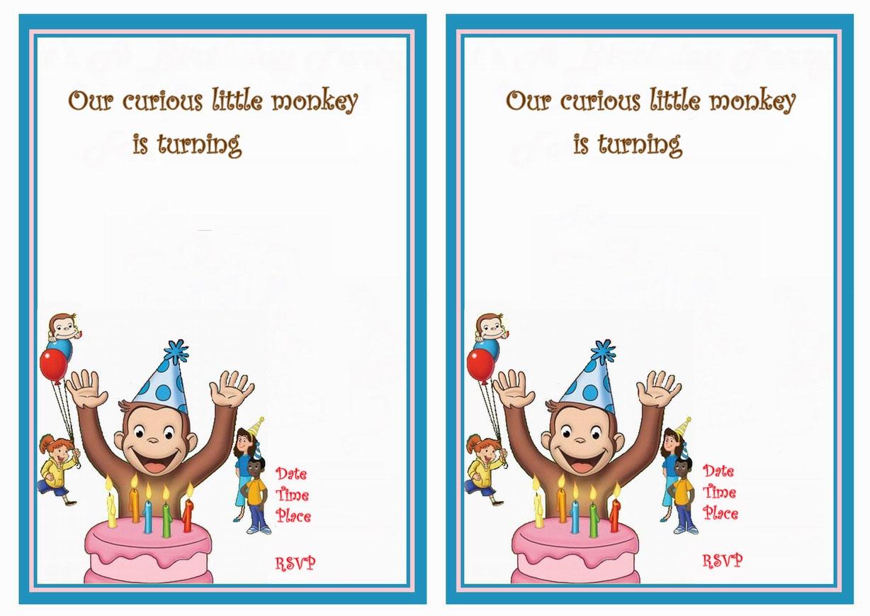 Curious George Birthday Invitations | Birthday Printable - Free Printable Curious George Invitations