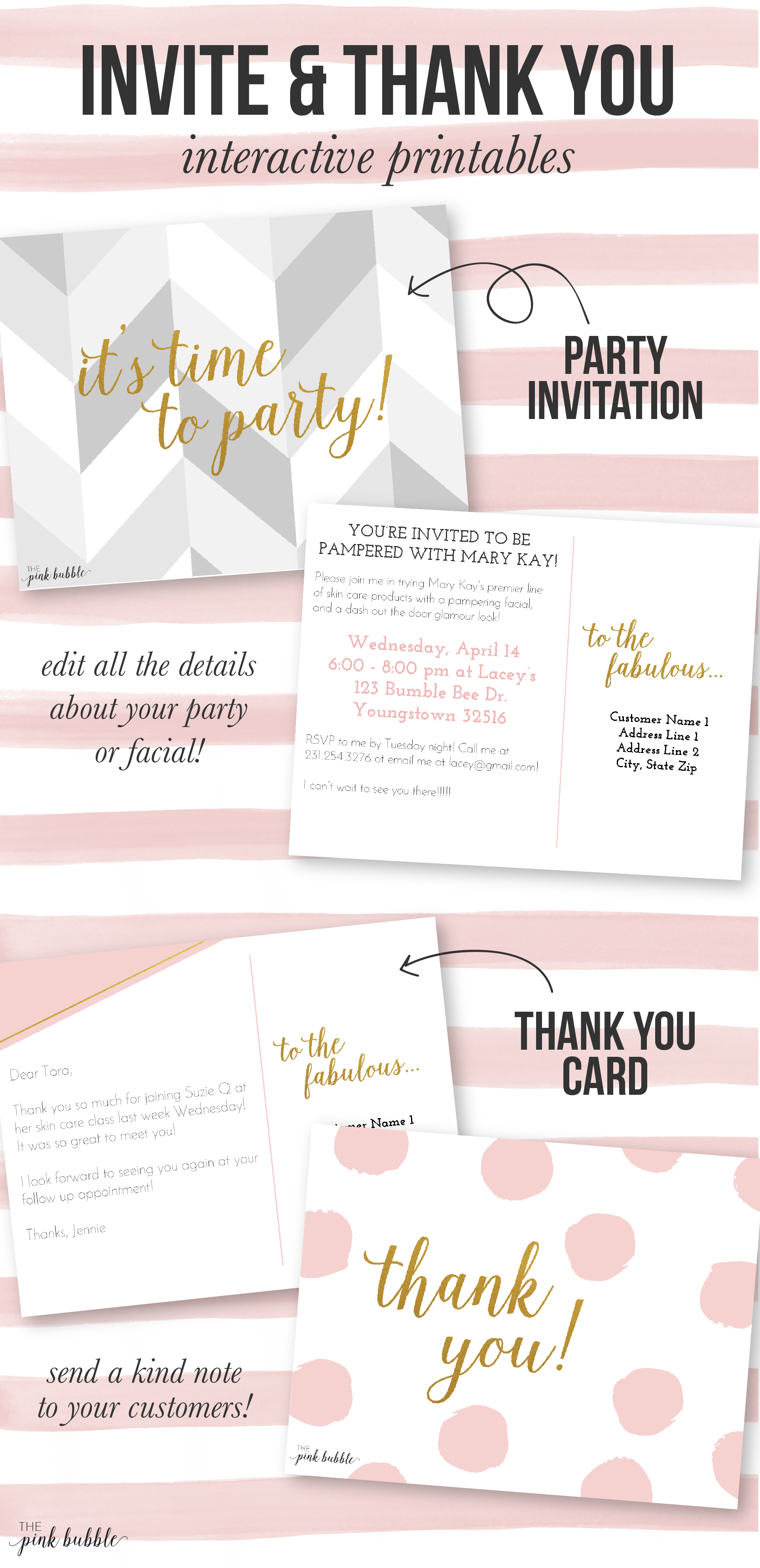 Customizable Mary Kay Party Invitation And Thank You Card!! Find It - Mary Kay Invites Printable Free