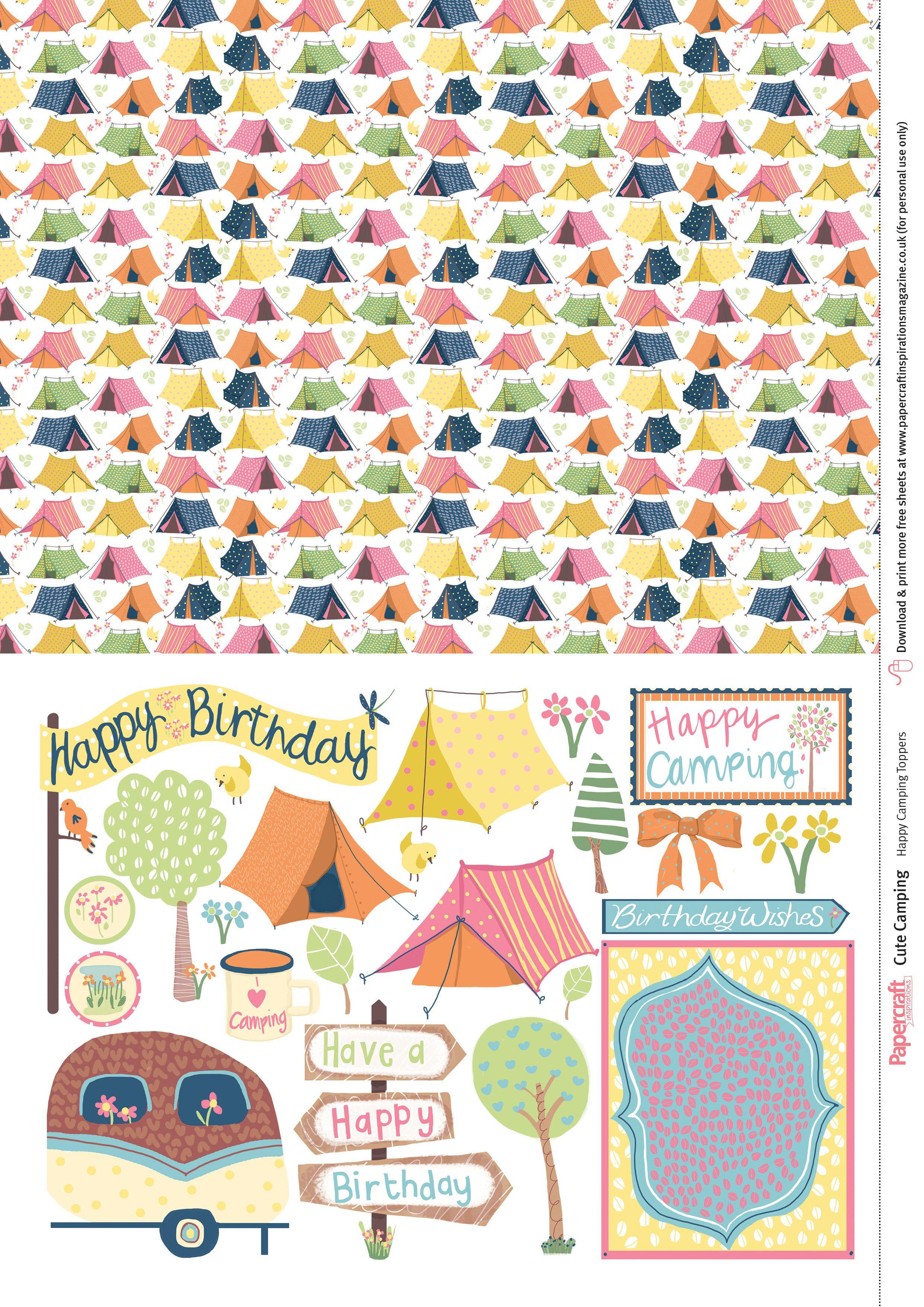 Cute Camping Free Digital Papers   Art   Printable Scrapbook Paper - Free Printable Pattern Paper Sheets