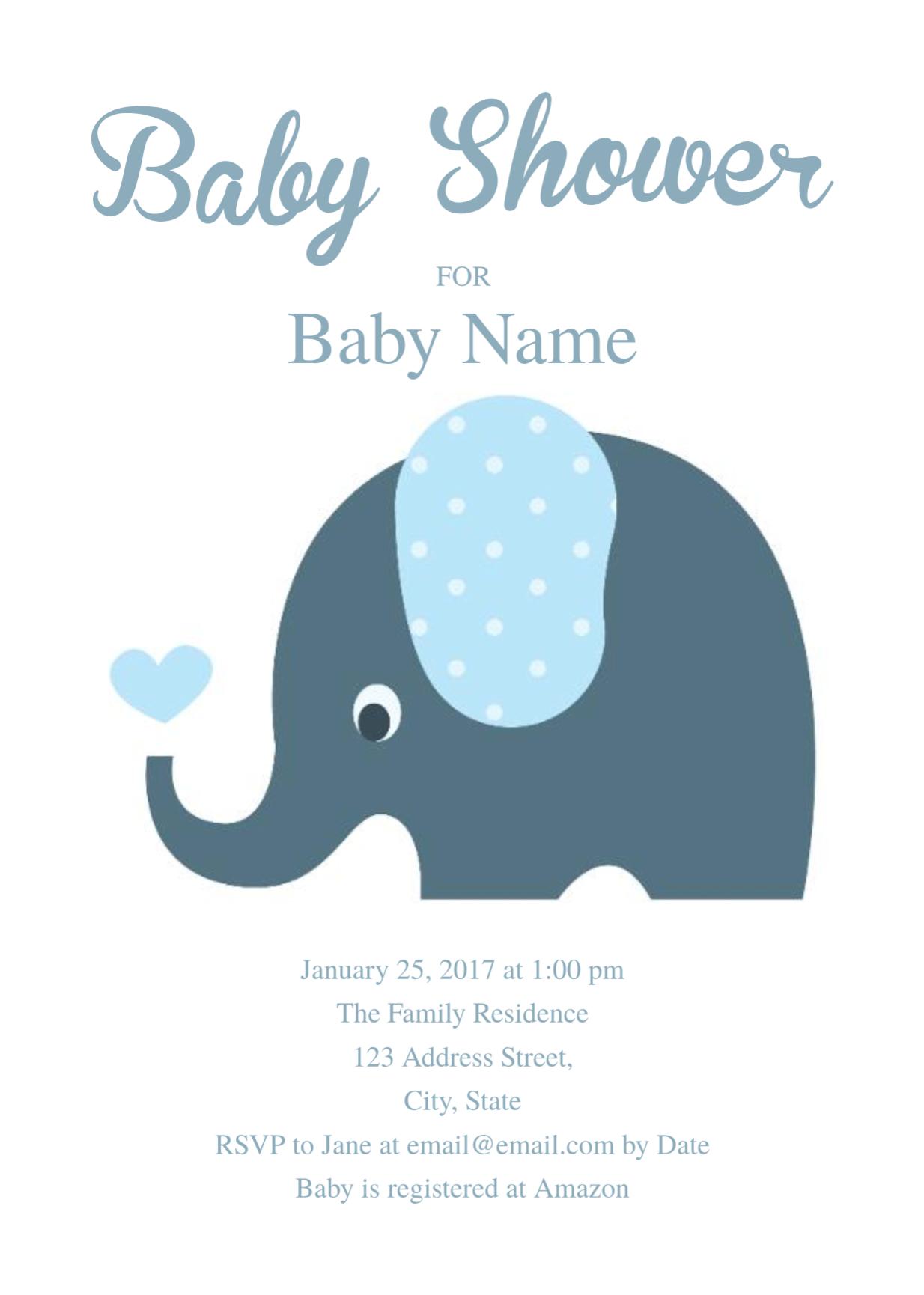 Cute Elephant Baby Shower Invitation Template   Free Invitation - Baby Shower Cards Online Free Printable