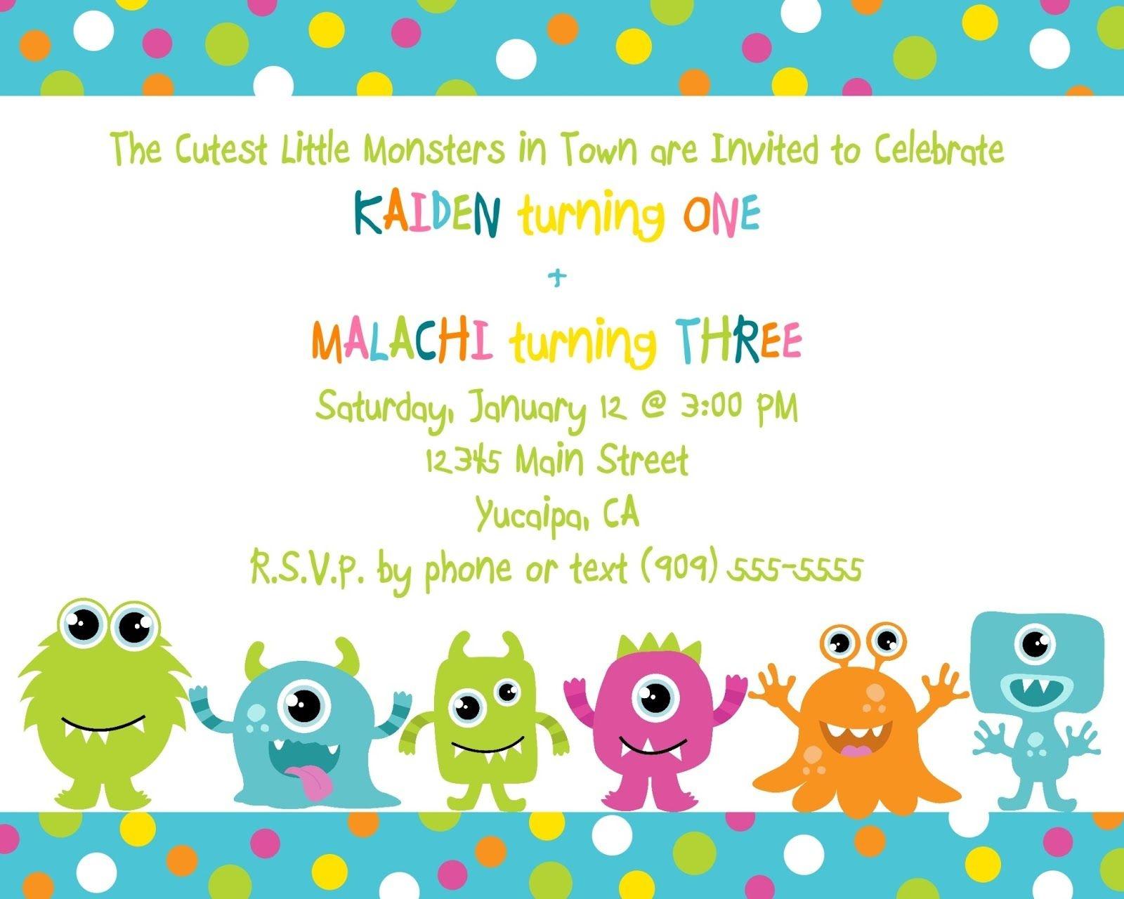 Cute Little Monster Birthday Invitation Printable   Free - Free Printable Monsters Inc Birthday Invitations
