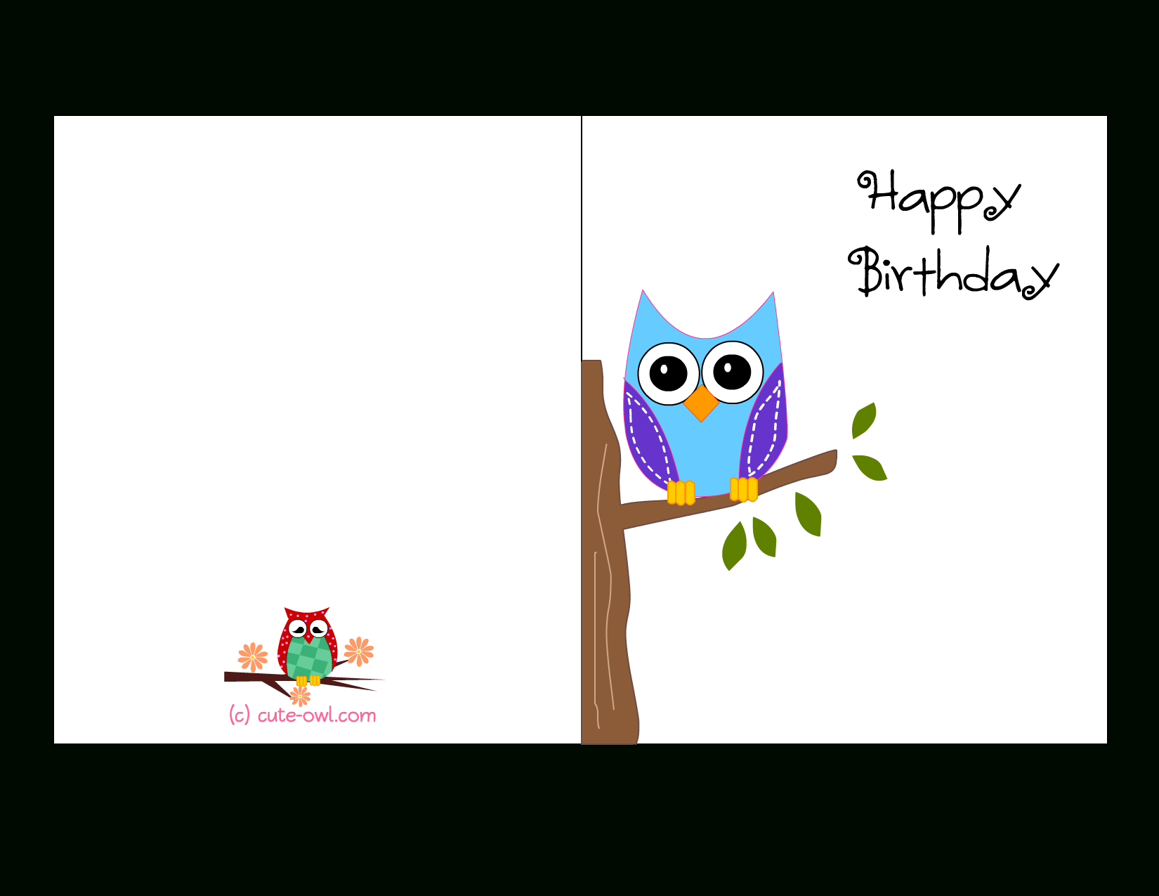 Cute Owl Sitting On A Branch Happy Birthday Card | Favorite - Free Printable Birthday Cards