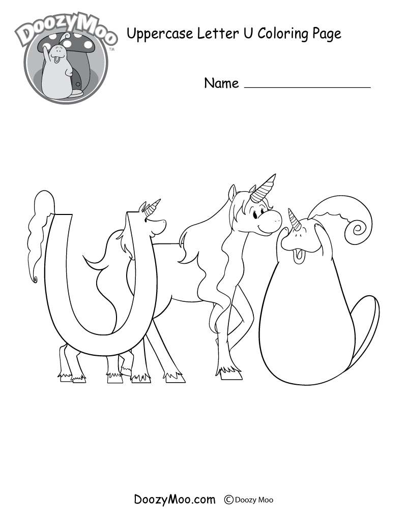 Cute Uppercase Letter U Coloring Page (Free Printable) - Doozy Moo - Free Printable Letter U Coloring Pages
