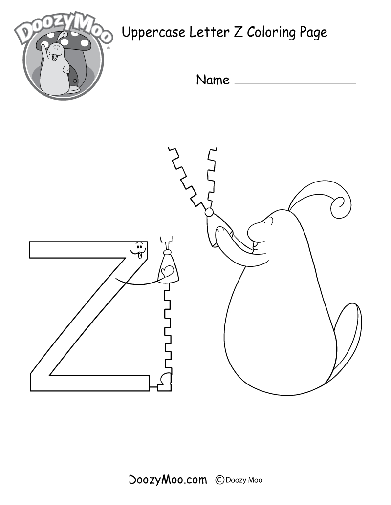 Cute Uppercase Letter Z Coloring Page (Free Printable) - Doozy Moo - Letter Z Worksheets Free Printable