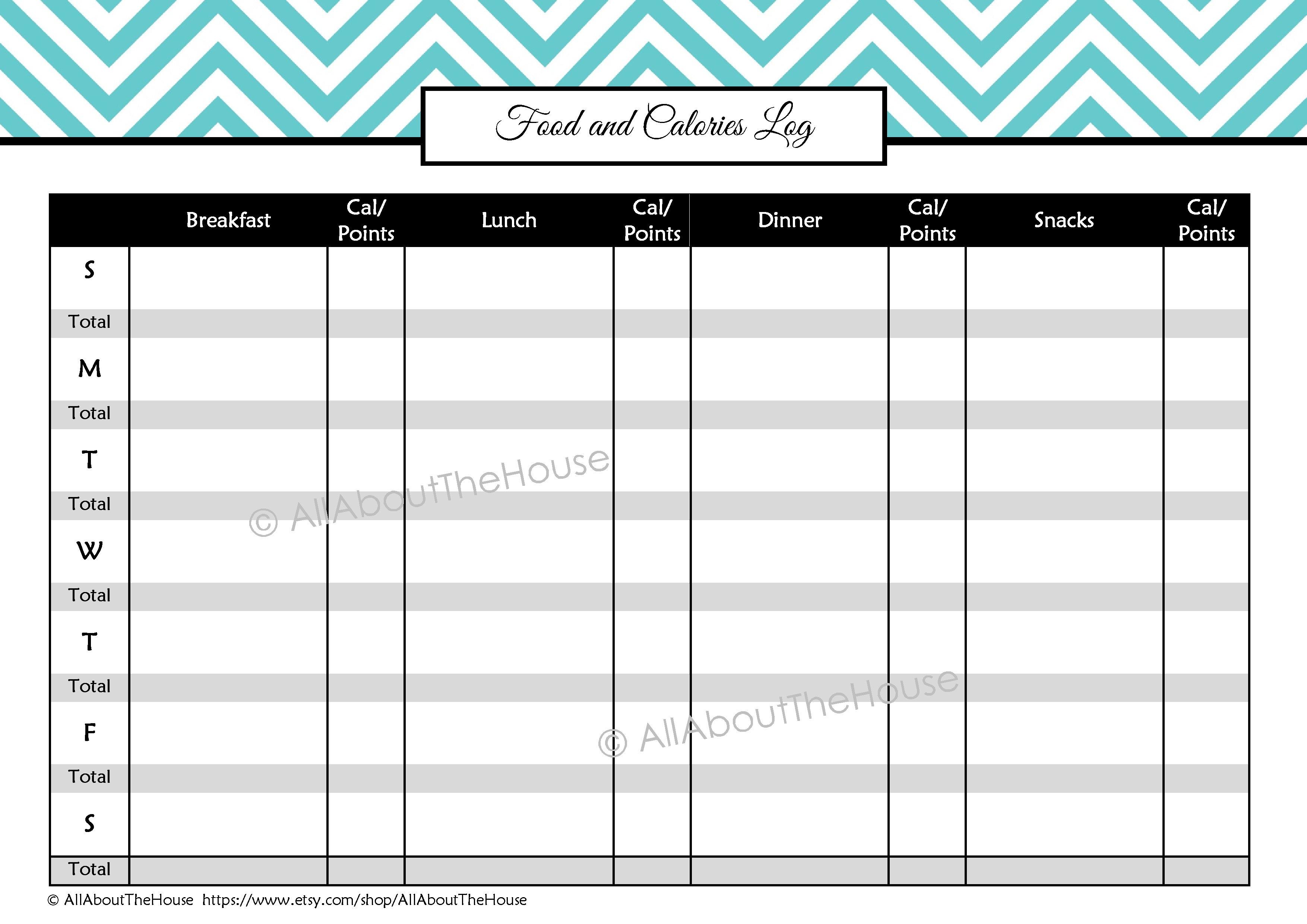 Daily Calorie Diary - Tutlin.psstech.co - Free Printable Calorie Counter Sheet