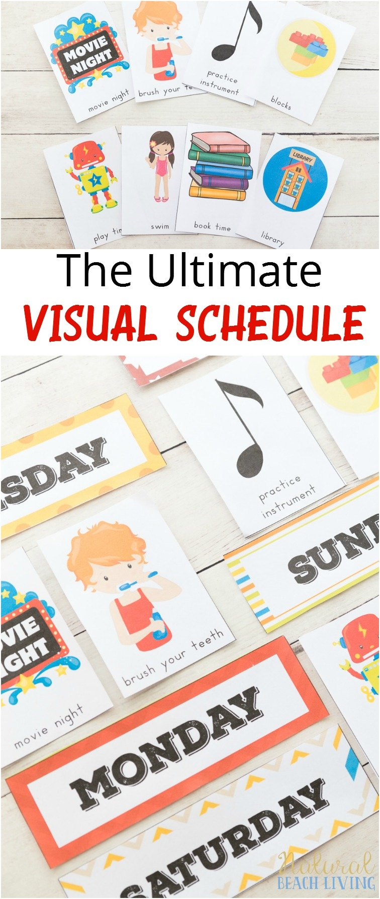Daily Visual Schedule For Kids Free Printable - Natural Beach Living - Free Printable Schedule Cards For Preschool