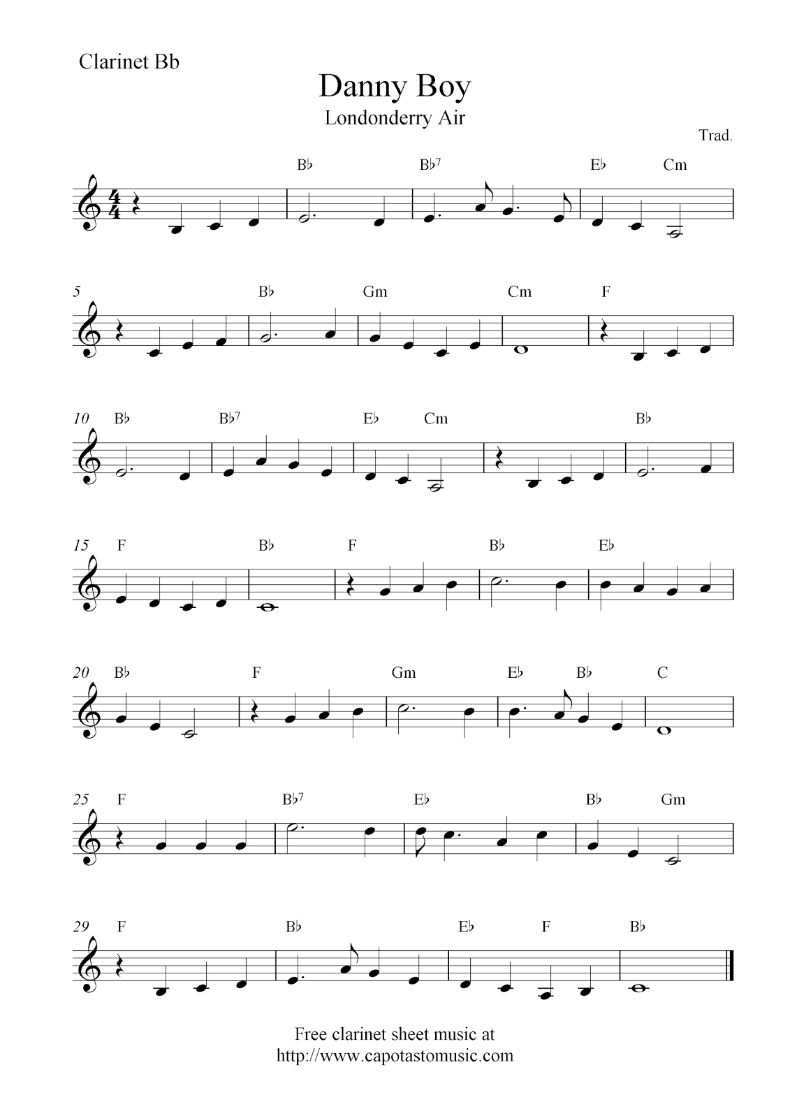 Danny Boy (Londonderry Air), Free Clarinet Sheet Music Notes - Free Sheet Music For Clarinet Printable