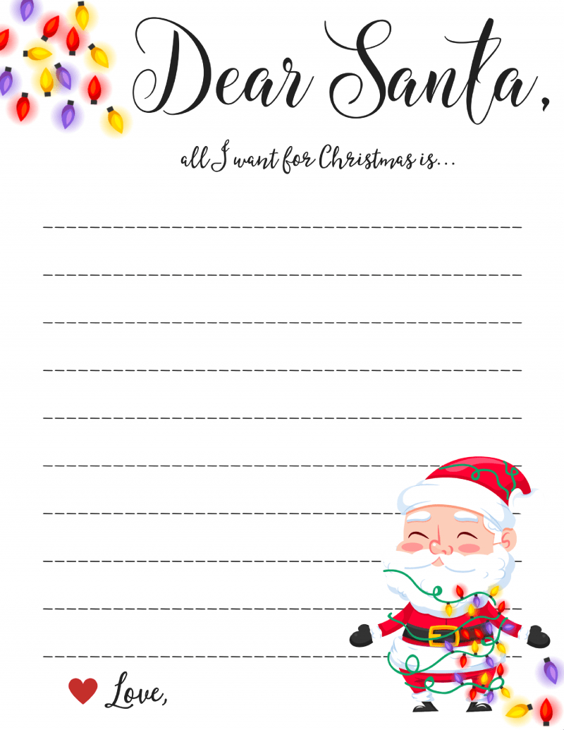 Dear Santa Letter: Free Printable Downloads - - Letter To Santa Template Free Printable
