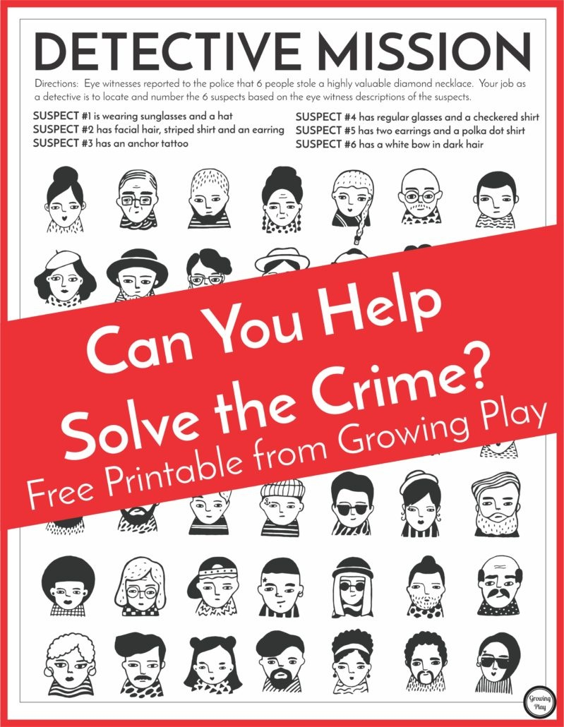 Detective Puzzle For Kids - Free Printable - Growing Play - Free Printable Puzzles For Kids